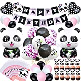 Welliboom Cute Cartoon Panda Birthday Party Supplies with Banner,Children Party Decoration, Girl Birthday Party Decoration Full Birthday Set 67PCS For Birthday Party