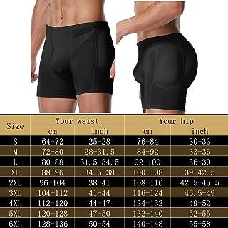Mens Padded Underwear Boxer Shapewear Butt Lifter Male Shaper Panty with Butt Lifter Belt 4 Detachable Pads Hip Enhancer Booster (Color : Beige, Size : L)