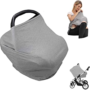 Car Seat Nursing Breastfeeding Cover, Thick Cozy Jersey Carseat Canopy Cover, Stroller Cover for Infant Babies, Extremely Stretchy, Amazing Soft, Convertible Multi Use 6 in 1- Gray