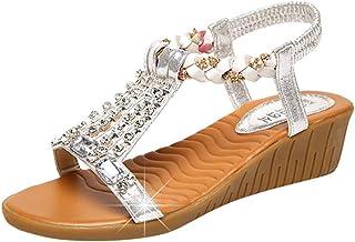 554442fba74 JJLIKER Women Bohemian Rhinestone Stretch Strap Slip On Sandals Summer Chunky  Platform Wedges Peep Toe Shoes