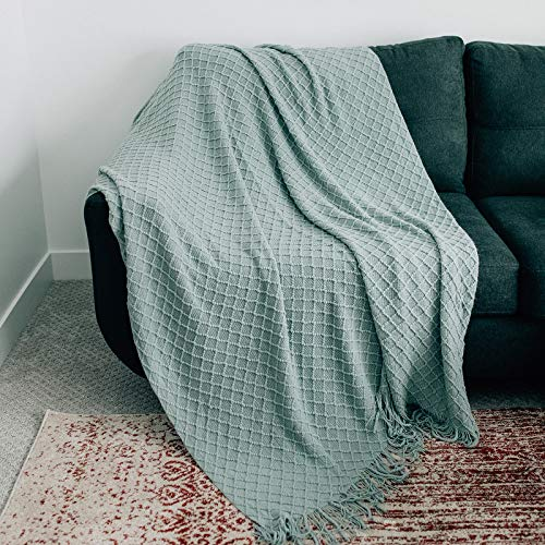 GRACED SOFT LUXURIES Oversized Throw Blankets Knit Soft for Sofa Couch Decorative Knitted Farmhouse Fringe Blanket Sky Gray Extra Large 60quot x 80quot