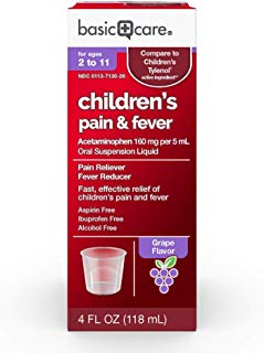 Basic Care Acetaminophen Children's Pain Reliever Oral Suspension Liquid, 4 Ounce