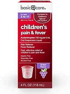 Basic Care Acetaminophen Children's Pain Reliever Oral Suspension Liquid, 4 Ounce
