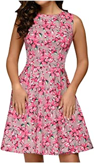 فستان الصيف النساء أزياء س الرقبة النساء الأزهار طباعة البسيطة اللباس بلا أكمام فستان حفلة الزفاف