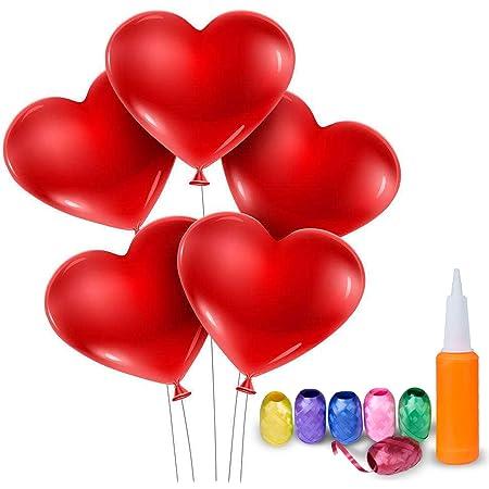 Meersee Palloncini a Forma di Cuore 100 Lattice Palloncini e Pompa e Ribbon Palloncini Cuore Rosso Grande per Matrimoni, Anniversari, San Valentino (Cuore)