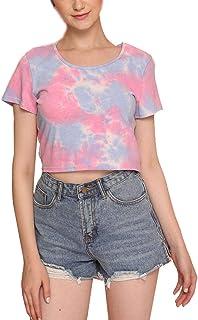 Romwe Women's Casual Tie Dye Short Sleeve Crop Top Tee T-Shirt