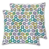 Flat Line Fidget Spinner Fundas de Almohada cuadradas de diseño sin Costuras para sofá, Cama, Coche, Fundas de Cojines Decorativos, Paquete de 2