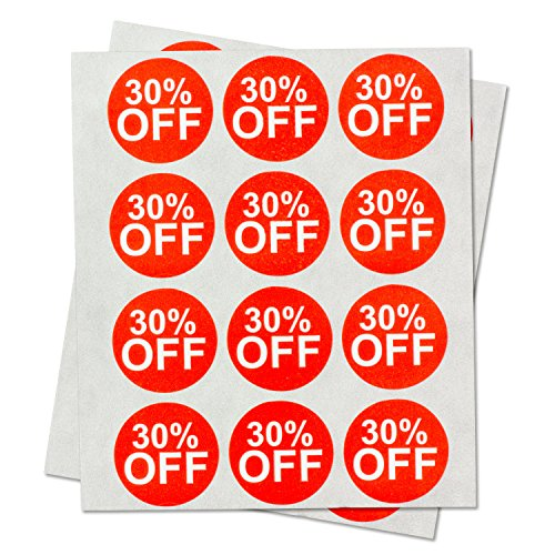 """Garage Yard Sale Price Stickers Labels [30% Percent Off] for Retail Store Clearance Promotion Discount Deals Circle Pricemarker Tag Labels Stickers (Red and White / 1"""") - 300 Labels per Package"""