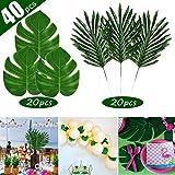 FEPITO 40 STÜCKE Künstliche Tropische Blätter Grüne Palme Monstera Blätter für Luau Hawaiian Party Dekorationen, Safari Dschungel Strand Tropical Party Dekorationen Liefert (2 Arten)
