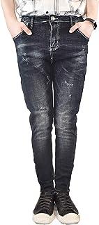 JOJO DESIGN メンズ 超弾力ジーンズ スリム コットンスキニー 細断デザインディープ ブラック カジュアル ファッションジーンズ