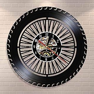 Cwanmh Reloj de Pared de Rueda de Rendimiento Reloj de Rueda de Coche Antiguo Servicio de Venta de automóviles reparación de Garaje Logotipo de Disco de Vinilo Reloj de Pared Decorativo 30x30cm