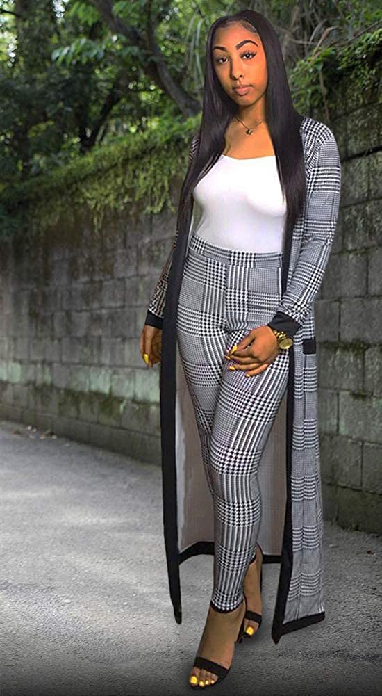 Women 2 Piece Outfits Clubwear Sexy Leapord Print Cardigan and Pants Set