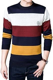 [ヴォンヴァーグ] セーター クルーネック 4色 ボーダー おしゃれ 丸首 長袖 カットソー ニット メンズセーター