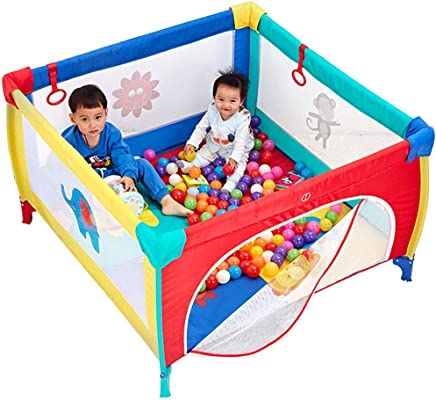 WJSW Baby Toys Kids Activity Centre Foldable Playpen Portable Indoor and Outdoor Infant Playpen Lightweight Household Protective Crawling Fence with Cushion Height 65 5cm  Size 120x120 cm  Safety