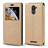 BQ Aquaris U Plus Case, Wood Grain Leather Case with Card