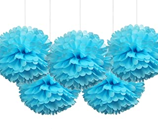 """16""""Light Blue Tissue Pom Poms DIY Paper Flowers Baby Shower Boy Birthday Party Decorations, Pack of 5"""