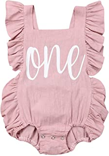 Newborn Baby Girl First Birthday Outfit Ruffle One Print...
