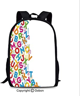 Fashion Breathable Backpack, Alphabet Background with Letter Icons Words Literature Textured Fun, School Bag :Suitable for Men and Women, School, Travel, Daily use, etc.Multi