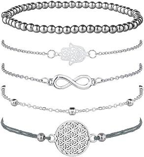 Juego de 5 pulseras de plata para mujer, con símbolo de