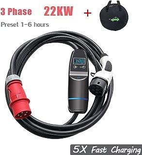 Tipo 2 EV Cargador Estándar Europeo (Trifásico y Monofásico Ajustable) EV Cable de Carga Rápida 5X Caja de Carga Mennekes 32A con Estuche de Transporte IEC 62196-2 22KW, 5M