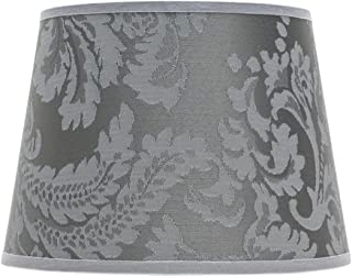 Petit abat-jour argenté avec motif baroque pour lampe de table E14 en tissu