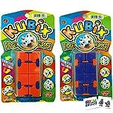 Kubix Fidget Flipper (2 Pack Assorted) Green Black White Black Orange Blue Infinity Cube with 2 GosuToys Stickers