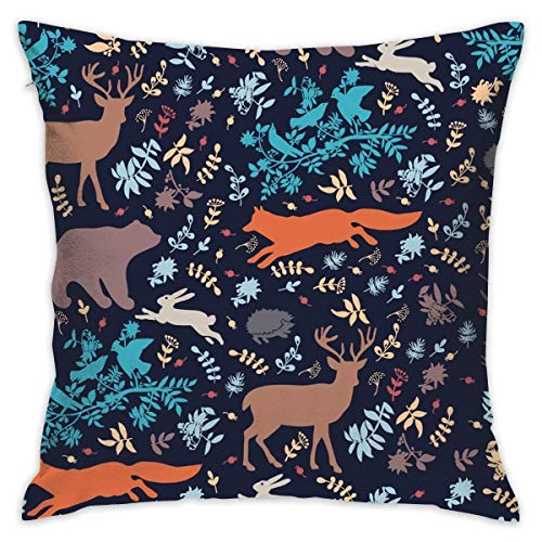 Hangdachang Throw Pillow Case Decorative Cushion Covers with The Various Mushroom Art 18 X 18 Inch for Decorations Sofa Car Home Office Elk Moose Bear Rabbit Hedgehog Forest