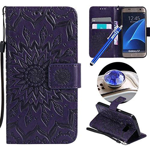 Etsue Custodia in Pelle per Samsung Galaxy S7 (Fiore di Mandala, viola)