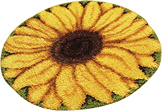 dailymall Sunflower Needlework Latch Hook Rug Kit Unfinished Crocheting Rug Embroidery Carpet Handmade Floor Mat Carpets Living Room