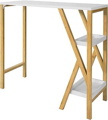SoBuy FWT56-W Table de Bar Table Haute de Bar Mange-Debout Cuisine avec 2 étagères de Rangement Pied en Forme K (Blanc)
