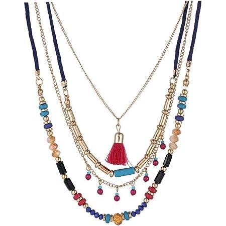 Colorido Collar De Perlas De Cristal De Las Mujeres De Boho Collar De Múltiples Capas De La Borla Colgante Gargantilla Collares Largos De Terciopelo Rojo