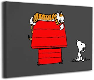 POLKJIH Calvin and Hobbes with Snoopy Fresh Look Canvas Printings Poster Artworks Ready to Hang for Home Decoration Room Decor 12x8inch