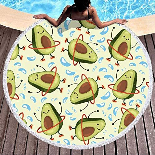Toalla de playa grande, redonda, divertida, de microfibra de aguacate, toalla de playa, toalla de playa, alfombra de pared, esterilla de yoga, manta de picnic, manta de playa, 150 cm