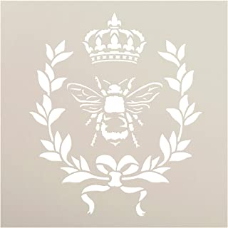 French Bee Stencil by StudioR12 | Crown, Laurel Wreath, Bee, Shabby Chic Country - Reusable- Chalky Paint- Use for Furniture Wood Signs Pillows Fabric Home Wall Decor | Select Size (9