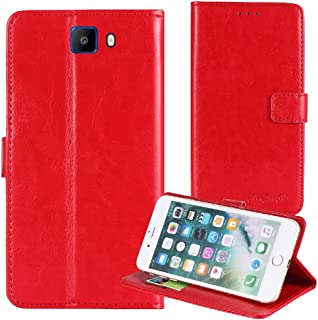 TienJueShi Red Book Stand Premium Retro Business Flip Leather Protector Case Cover Skin Etui Wallet for Elephone S8 6 inch