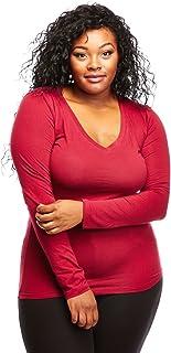 Bozzolo Womens Ladies Plus Size Curvy Cotton Basic V-Neck Long Sleeves Tops (XL, Burgundy)
