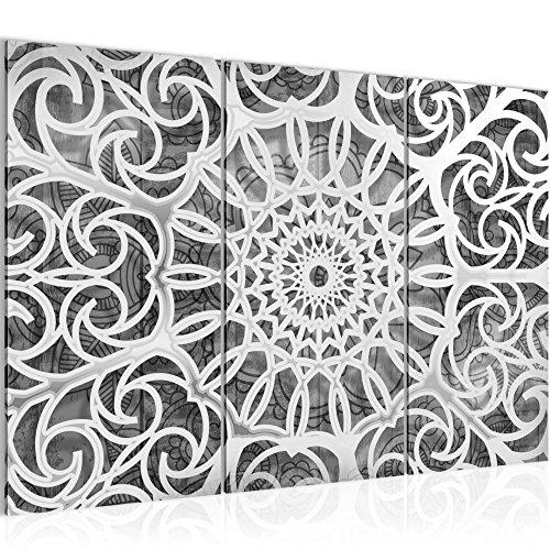 Bilder Mandala Abstrakt Wandbild 120 x 80 cm Vlies - Leinwand Bild XXL Format Wandbilder Wohnzimmer Wohnung Deko Kunstdrucke Schwarz Weiß 3 Teilig - MADE IN GERMANY - Fertig zum Aufhängen 109631c