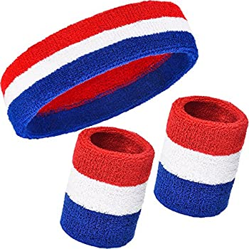 WILLBOND 3 Pieces Sweatbands Set Includes Sports Headband and Wrist Sweatbands Striped Sweat Band for Athletic Men and Women  Red White and Blue