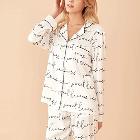 Pijama De Satén para Mujer,Conjunto De Pijamas,Pijamas De ...