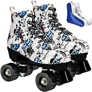 XUDREZ Roller Skates for Women Girls High-top PU Leather Fashion Print Roller Skates Shiny Double Row Wheels Roller Skates with a Shoes Bag