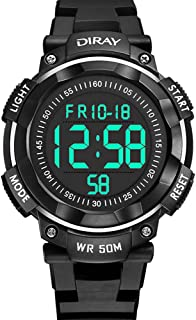 Kids Digital Watches, DIRAY Mens Boys Sport Watches Stopwatch 50M Waterproof Wrist Watch LED Timepieces