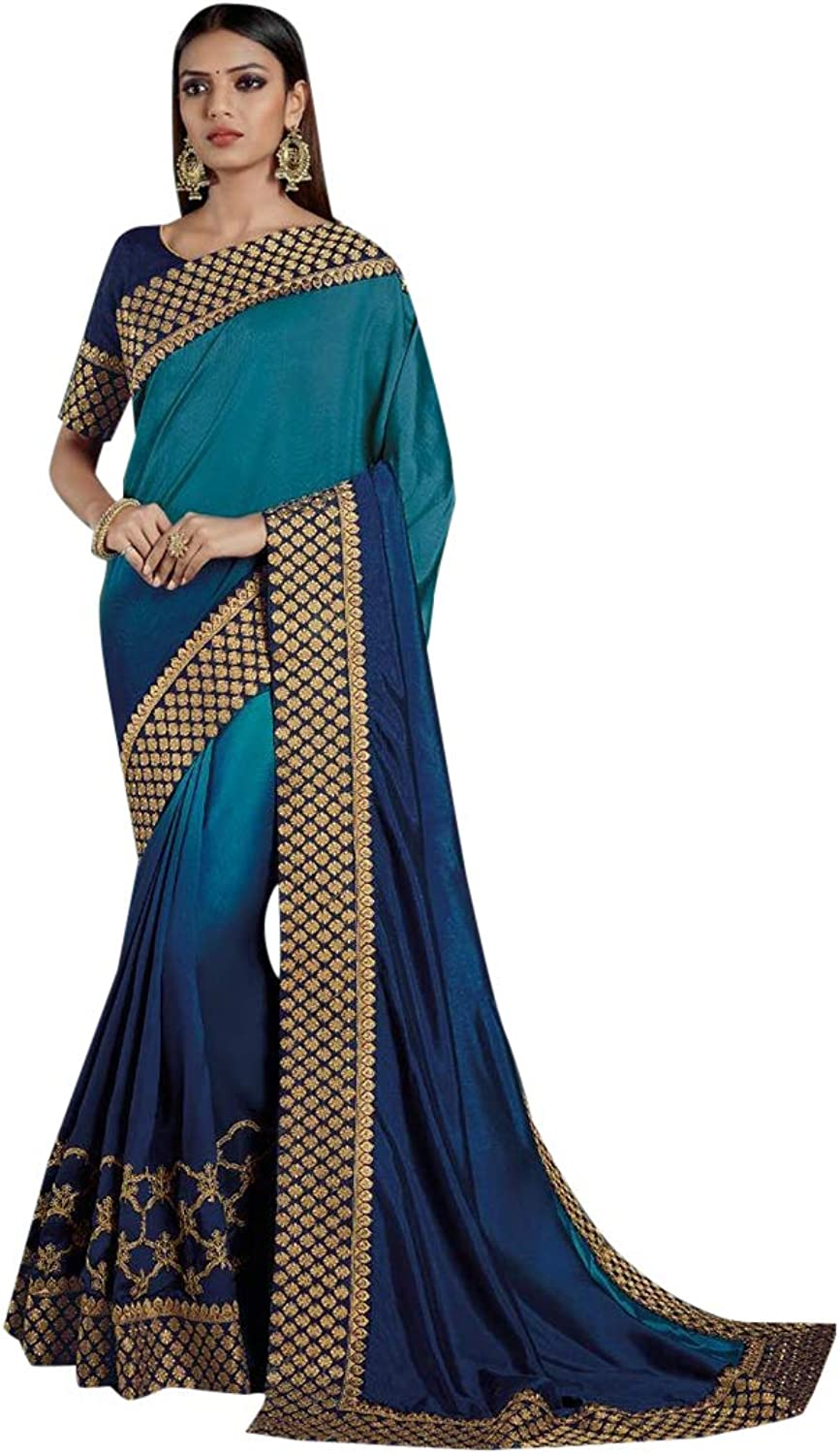 Indian Ethnic Royal bluee Shady Silk Saree With Blouse Designer collection Party wear 7335