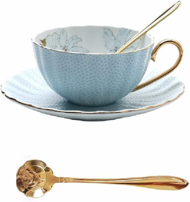 HQLCX Coffee Cup And Tea Set Ranking TOP14 Blue Household European For Ros Year-end gift