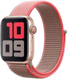 Apple Watch Kordon 42 / 44 mm Seri 2 3 4 5 Spor Loop Kordon Neon Pembe