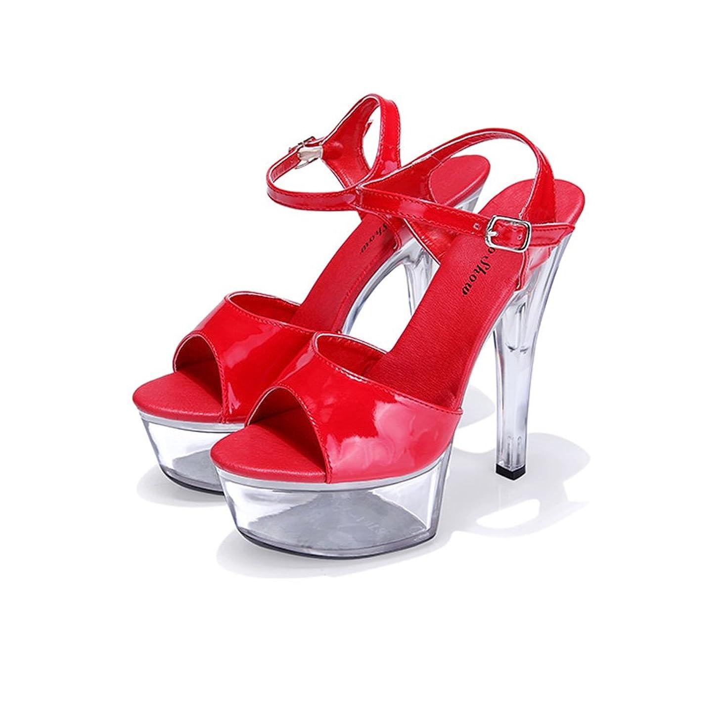 エンジニアリング結晶リベラル[Chuguang] キャバサンダル パンプス 歩きやすい 15cmヒール 美脚 ピンヒール 脚長効果 痛くない 大きいサイズ パンプス インソール ピンヒール 美脚 透明 結婚式 2次会 22cm-27cm