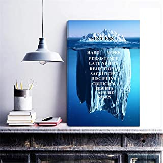 HOMEOART Inspirational Quotes Wall Art Success Quote Iceberg Picture Canvas Artwork Motivational Office Decor 16