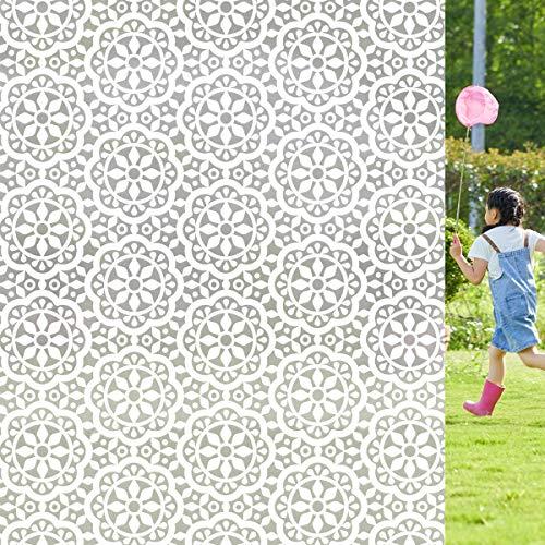 Lifetree Fensterfolie Dekofolie Privatsphäre Sichtschutzfolie Statisch haftenden Glasaufkleber Ohne Klebstoff Milchglasfolie für Zuhause und Büro Blumen 60 * 300