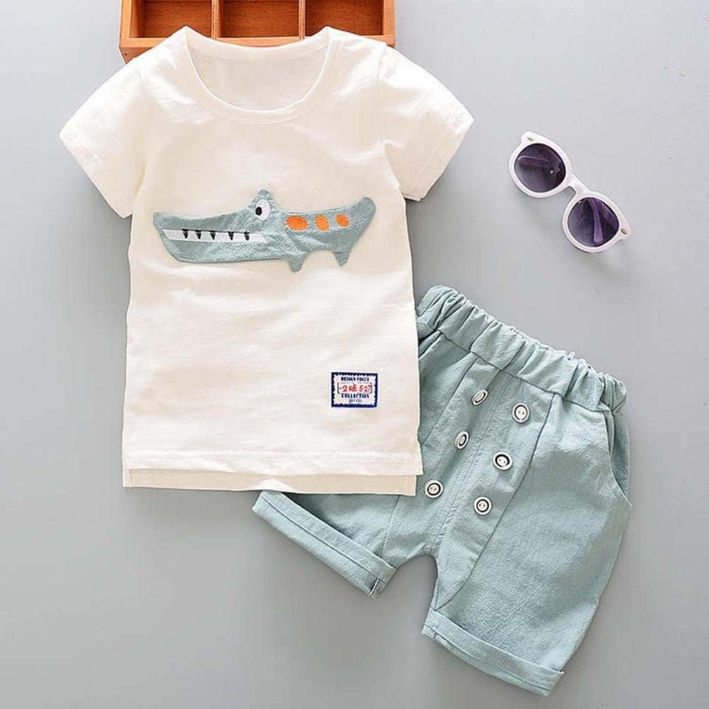 MetCuento Summer Boys Toddler Cartoon Print Clothes Short Sleeve Tee Tops and Short Pants Outfit Set Beach Holidays