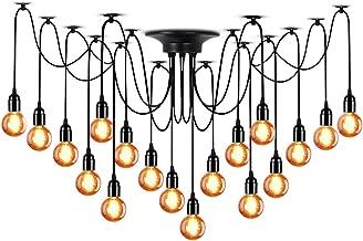LAMPUNDIT 18-Light Chandelier, Adjustable DIY Ceiling Spider Pendant Lighting, Industrial Hanging Light Fixture (Each with 6ft Wire)