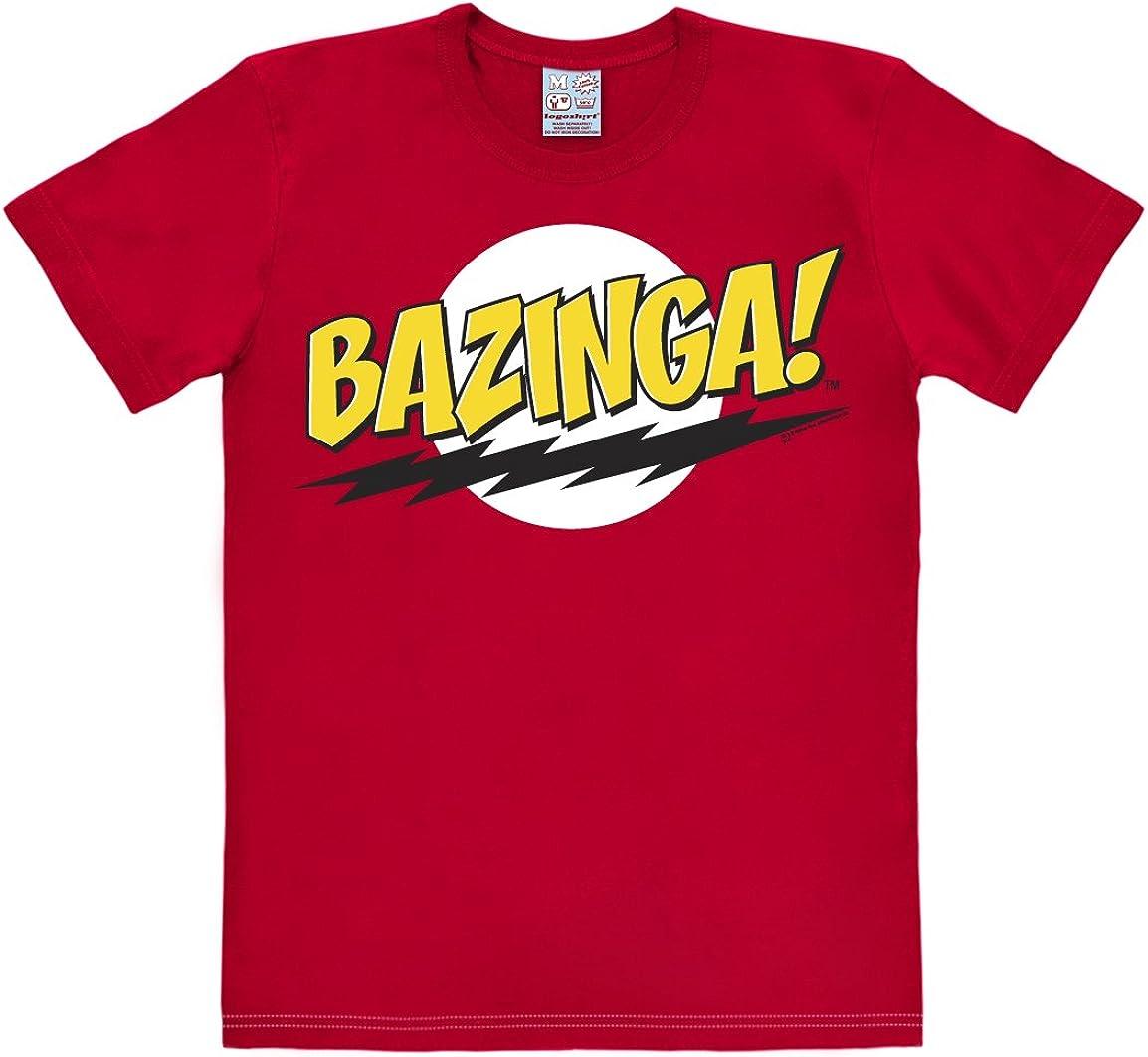 T-Shirt Big Bang Theory Sheldon T-Shirt /à col Rond de Rouge Logoshirt T-Shirt Bazinga Design Original sous Licence